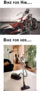 Motocicleta pentru barbati si motocicleta pentru femei