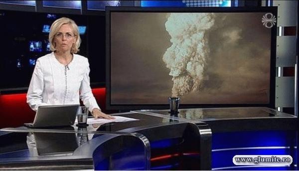 Fumul din paharul prezentatoarei TV
